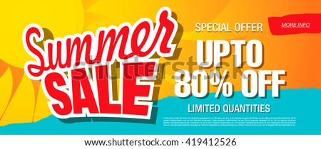 summer sale template banner - stock vector