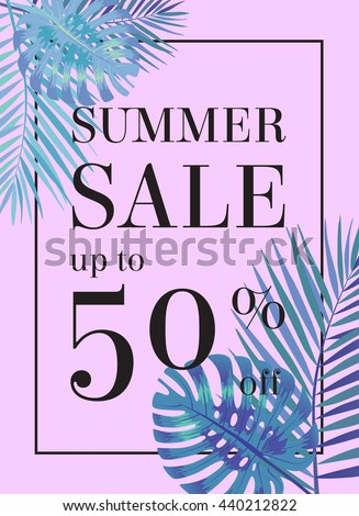 Summer sale up to 50 per cent off. Web-banner or poster with watercolor palm leaves. EPS 10 - stock vector