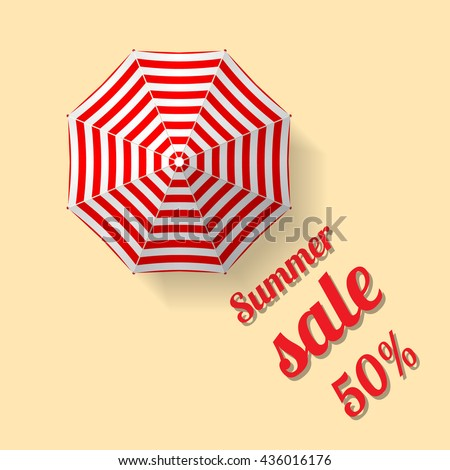 Summer sale vector banner template with text and percentage on background with beach and umbrella - stock vector