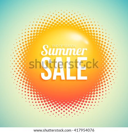 Summer sale with abstract halftone sun. - stock vector