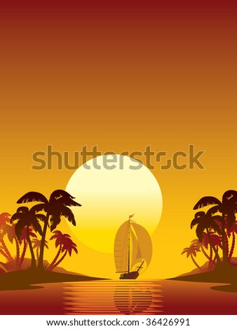 Summer scene: sailing yacht, sunset and island with palms - stock vector