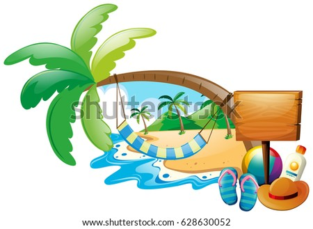 Summer scene with hammock on tree illustration