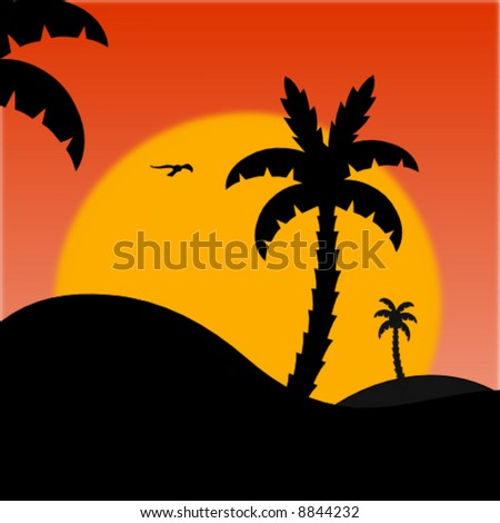 summer scene with palm trees and sun