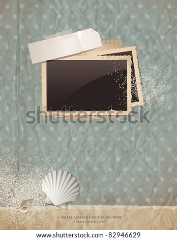 summer scrap background with old paper, photoframe, shells and sand - perfect for your holiday layout; just insert your pics and add your own ephemera - stock vector