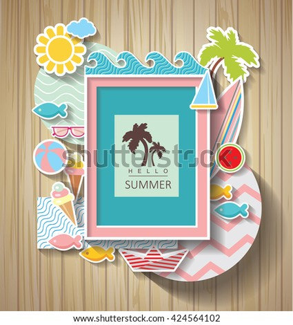 summer scrapbook. Holidays background on wooden texture - stock vector