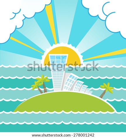 Summer sea landscape and building with island vector illustration. - stock vector