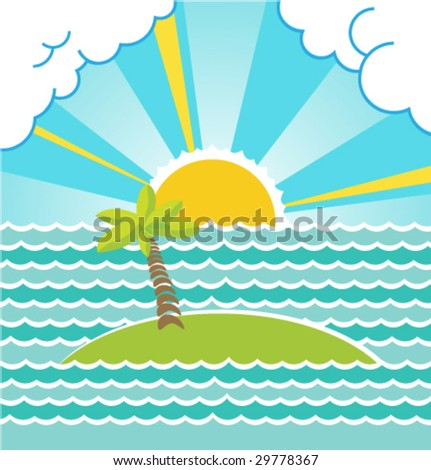 Summer sea landscape with island. Vector. - stock vector