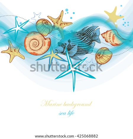 Summer sea waves and marine life, holiday, beach party background  - stock vector