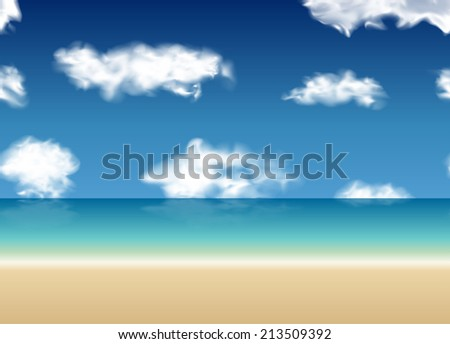 Summer sea with blue sky and clouds background. Vector seamless illustration. Repeat design.