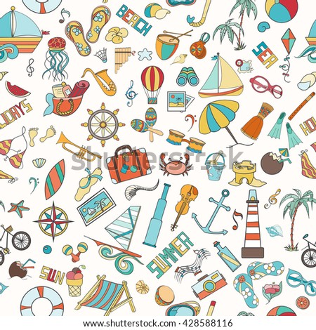 Summer seamless pattern can be used for wallpaper, website background. Doodles hand drawn vector summer symbols and objects