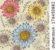 Summer seamless pattern with multicolored sunflowers - stock vector
