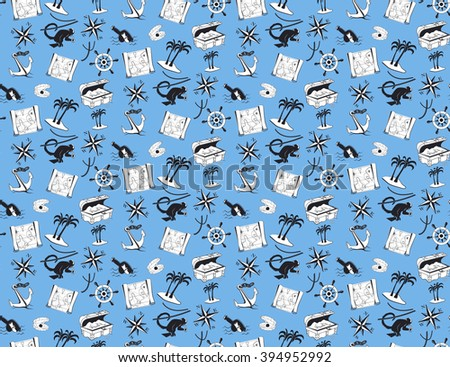 Summer seamless pattern with sea elements and adventures symbols. Piracy style. Blue background - stock vector