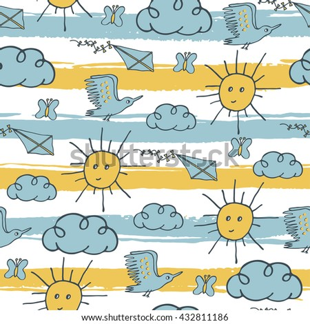 Summer seamless pattern with sun, clouds, seagull, butterfly and kite on striped background.