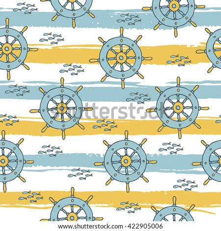 Summer seamless pattern with wheel and fish on striped background.