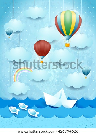 Summer seascape with hot air balloons and paper boat. Vector illustration  - stock vector