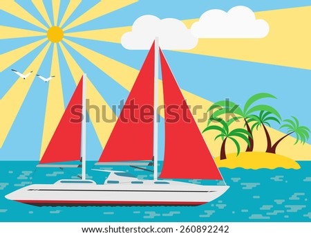 Summer seascape with walking yacht under scarlet sails. Vector. - stock vector