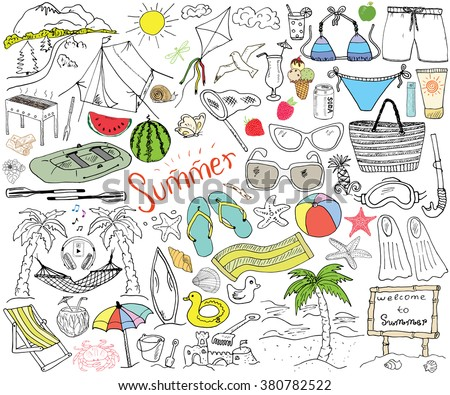 Summer season doodles elements. Hand drawn sketch set with sun, umbrella, sunglasses, palms and hammock, beach, camping items, mountains, tent, raft, grill, kite. Drawing doodle, isolated on white. - stock vector