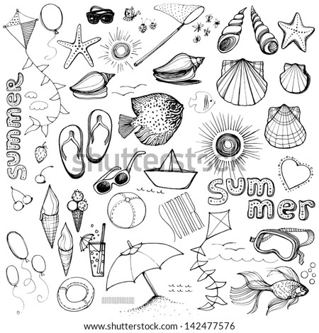 Summer set. Hand-drawn. - stock vector