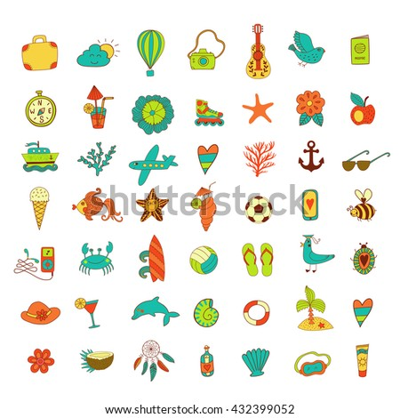 Summer set icons, summer beach hand drawn vector elements and objects, travel vacation doodle objects - stock vector