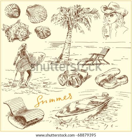 summer set - original hand drawn illustration - stock vector