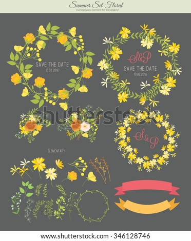 Summer set , Wedding graphic set, flowers, ribbon, floral vector element. - stock vector