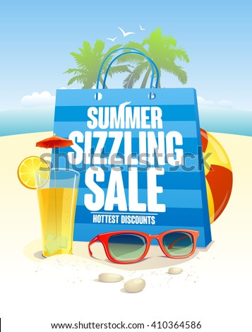 Summer sizzling sale with blue shopping bag on a beach  backdrop with palms, sun glasses and cocktail - stock vector