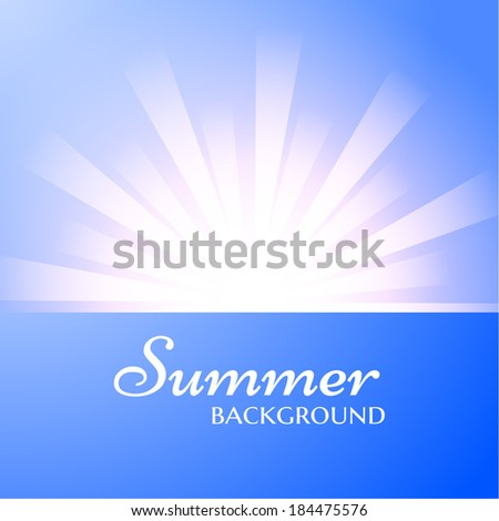 Summer sky background. Vector eps10 Sun burst background. - stock vector