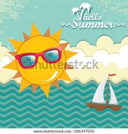 summer sky with sun wearing sunglasses . vector summer illustration. summer holiday. - stock vector