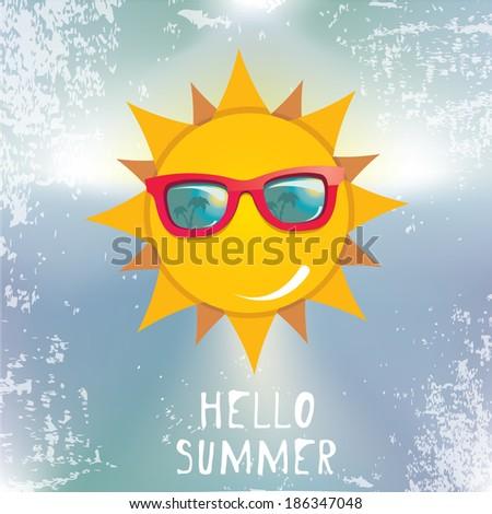 Summer Sky With Sun Wearing Sunglasses . Vector Summer Illustration. Summer  Holiday.