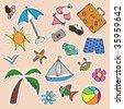 Summer stickers set - stock vector