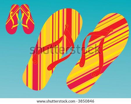 summer stripe flipflops vector see series - stock vector