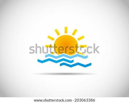 Summer Sun And Sea Illustration - stock vector