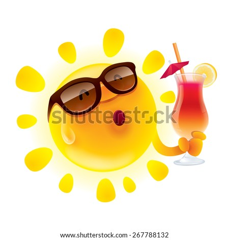 Summer sun chilling out with cocktail - stock vector