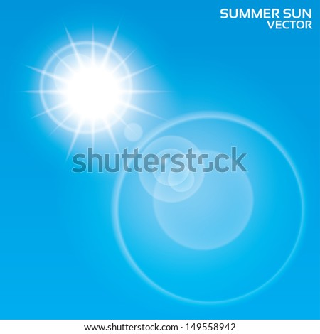 Summer sun lens flare background. Vector illustration. Blue sky. Eps10. - stock vector