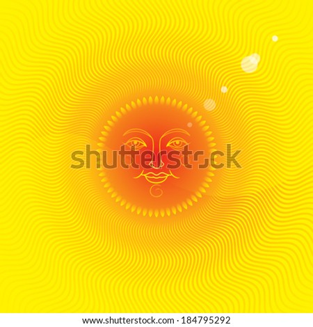 Summer Sun, summer background with a sun face. - stock vector