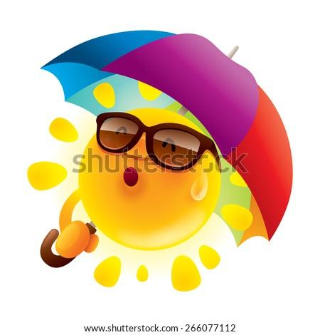 Summer sun with an umbrella - stock vector