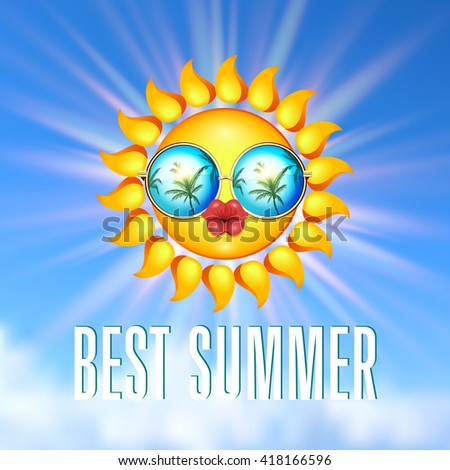 Summer Sun with reflecting sunglasses and full lips on blue sky background. Vector illustration. - stock vector