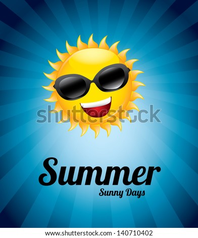 summer sunny day over blue background vector illustration - stock vector