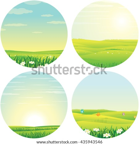 Summer Sunny Day. Spring Scenic Landscape. Cartoon Vector Pictures Set Ready for Your Text and Design. - stock vector