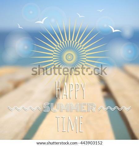 Summer sunset background. Vector design for print or web. - stock vector