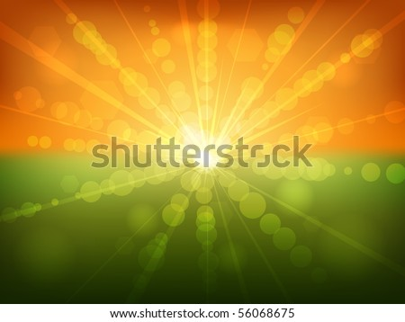 Summer sunset bokeh effect vector background. - stock vector