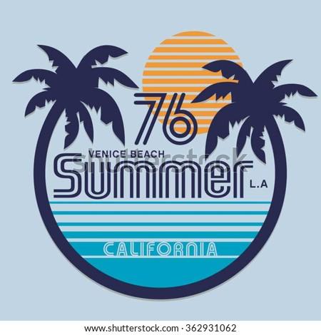 Summer surf typography, t-shirt graphics, vectors - stock vector
