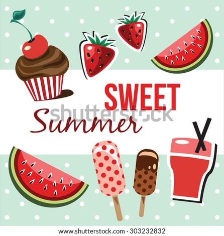 Summer sweets vector illustration - stock vector