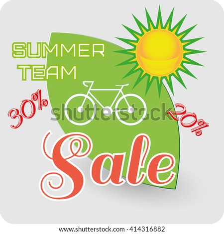 Summer team Sale - sun and ecology. Green and yellow objects icon illustration. Riding a bike supporting ecology. Lovely greeting card for summer holidays. Digital vector image. - stock vector