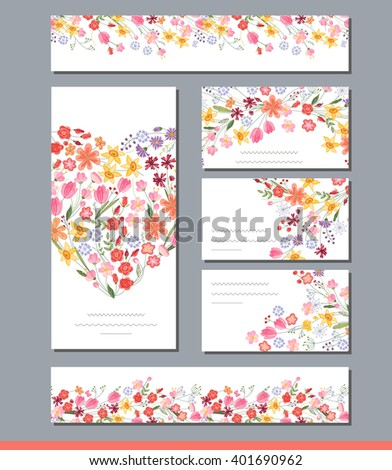 Summer templates with contour flowers.Phrase Summer is coming. Endless horizontal pattern brush. For romantic and easter design, announcements, greeting cards, posters, advertisement. - stock vector