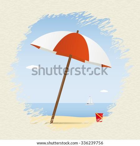 Summer theme. Umbrella on the beach with yacht. Vector illustration - stock vector