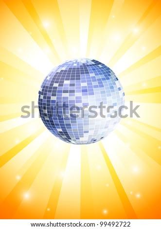 Summer Theme with disco ball - stock vector