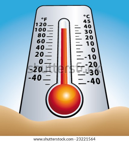 Summer thermometer in sand greenhouse effect vector