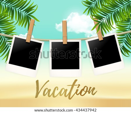 Summer three photo frames on the rope with summer sea and beach vacation  - vector illustration. Blank photos on the clothespin with palm trees. Summer Hot background for your photo - stock vector