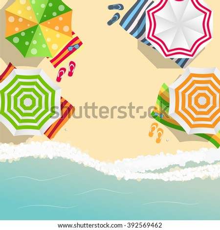 Summer Time Background. Sunny Beach in Flat Design Style Vector Illustration